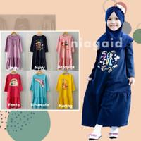 Gamis Kaos Baju Busana Muslim Blanjuran Anak Perempuan Cewek 2-8 Tahun - Ungu, size 2