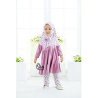 Baju Muslim Anak Perempuan / Baju Muslim Bayi Nayla Legging Set 1-6thn - Violet, 1-2 tahun