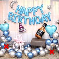HAPPY BIRTHDAY BIRU SILVER LED KAWAT DEKORASI SET/BALON FOIL BULAN - Tanpa Standing