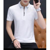 Baju Kaos Polo Pria CSL Bahan Cotton Combed Lenngan Pendek Zipper - Putih, XL