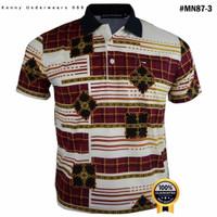 Kaos Polo Kerah Pria Dewasa Miller Neuman MN-87 Motif Batik 100%Ori - M