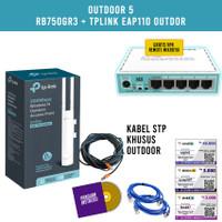 Paket Hotspot Outdoor Mikrotik RB750GR3 dan TPLINK EAP110 OUTDOOR