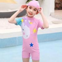 Baju Renang Anak Perempuan Swimsuit Unicorn - Merah Muda, 4XL