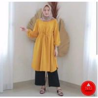 ATASAN TUNIK AMANDA SERUT BUMIL DRESS MOSCREPE PREMIUM TEBAL FIT TO XL - Mustard