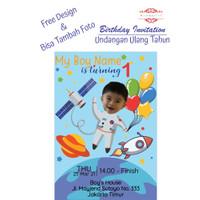 Undangan Ulang Tahun Anak 16x10 cm Astronot Astronaut Plus Foto Custom