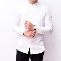 Baju Hem Kemeja Putih Pria Lengan Panjang Kerah Shanghai Kancing1 3345 - Putih Kcg Putih, XL