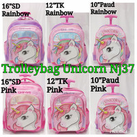 tas troli anak SD TK paud motif nj37 unicorn rainbow pink