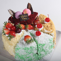 Kue Ulang Tahun Mixed Cake / Klepon - Nastar - Red Velvet - Lapis Keju