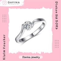 Cincin Wanita DAVINA Andrea Ring Lapis Emas putih 18K White Gold Korea