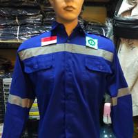 BAJU SAFETY LENGAN PANJANG / SERAGAM KERJA PROYEK BIRU BCA + LOGO