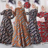 Gamis Dress Baju Muslim Gamis Jersey Batik Jumbo 6L 7268