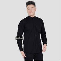 Baju Kemeja Pria Kerah Shanghai Lengan Panjang Big Size Jumbo XXL - Hitam, M