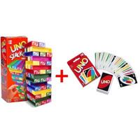 BS - Paket Permainan Uno Stacko + Kartu Unoo FREE BUBBLE