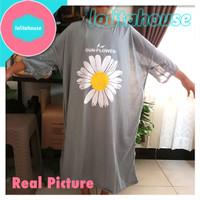 dress jumbo oversize sablon bunga daisy baju santai wanita tipis lebar