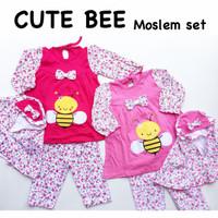 Cute Bee Moslem Set / Gamis Bayi / Baju Muslim Bayi Perempuan Murah