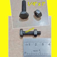 Baut Mur Hex Hexagon Besi Hitam 1/4 x 1 Kunci 10 Drat Kasar 1/4x1