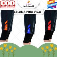 Celana Olahraga Gowes & Lari Pria 3/4 Bahan Dry Fit Adem Menutup Aurat