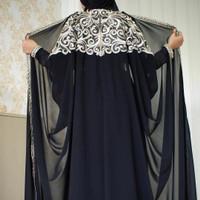 Abaya hitam wanita gamis jubah outer baju muslim syari arab saudi