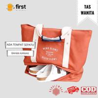 FIRST PROJECT - Tas Tote Bag Kanvas Wanita dengan Tempat Sepatu