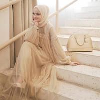 Gamis Wanita Size L, XL, XXL / Gamis Pesta Renda Import / Baju Muslim - Coksu, L