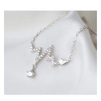 Kalung Hati Silver 925 Rantai Silver Kalvikula Korean Necklace Style - VAR1