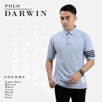 Baju Polo Original Casual Pria Polos Berkerah Darwin Premium - Putih, S
