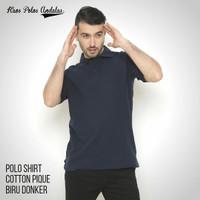 Kaos Polos Polo Cotton Pique Biru Dongker