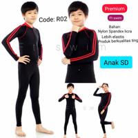 Baju renang anak SD panjang cewek cowok/Baju Diving anak laki-laki - Biru Pendek J02, M