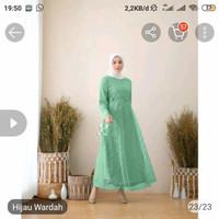 WNX - Maxi Alosia Baju Gamis Brukat fashion Wanita / Cod / Bisa Bayar - hijau Wardah