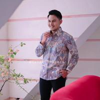 Batik Pria kemeja batik cowo baju batik laki Lengan Panjang Pendek G18 - Ungu, S