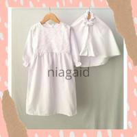 Gamis Pakaian Baju Dress Muslim Anak Perempuan Putih Brukat 1-6 tahun