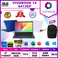 ASUS VIVOBOOK A413EP - i7 1165G7 8GB 512ssd MX330 2GB 14.0FHD W10+OHS