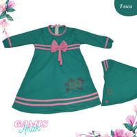 Baju Muslim Anak Perempuan + Hijab Mute Motif Bunga 1 - 5 Tahun - Pink, S