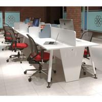Meja Kerja 8 Staff Kantor Cubicle Sekat Partisi Workstation Putih Opo