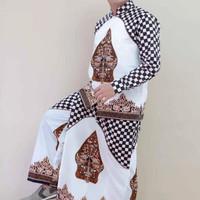 setelan baju Koko batik celana sarung gunungan putih