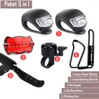 Aksesoris Sepeda 5 in 1 Lampu Sepeda Rak Botol Bel Sepeda Cover Rem - Lampu Dpn Merah