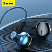 BASEUS HEADSET HANDSFREE ENCOK 3.5MM WIRED EARPHONE H19 - Hitam