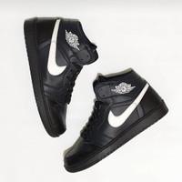 sepatu pria sneakers nike jordan high full black ukuran 36 - 45