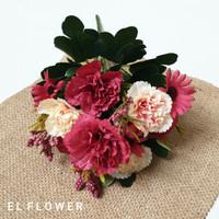 carnation anyelir 7 kuntum bunga artificial
