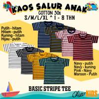kaos anak salur / basic stripe tee kids 1- 8 tahun original distro