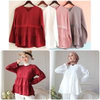 kayla blouse/atasan wanita kekinian hijab friend/blouse putih merah