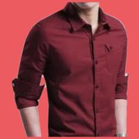 baju/kemeja polos merah maroon pria