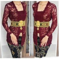 Kebaya Kutu Baru Baju Bali Modern Atasan Brukat Wanita Murah Grosir - maroon, S