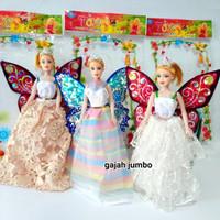Mainan Boneka Fairy Doll Sayap Peri LongDress Barbie Kupu Baju Panjang