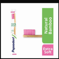 pepsodent sikat gigi natural bamboo extra soft - extra soft pink