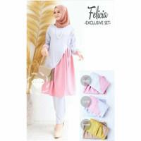 Baju Wanita Set Felicia Baju Setelan Celana Panjang Fashion Muslimah - Abu-abu