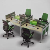 Meja Kerja 4 Staff Kantor Cubicle Partisi Sekat Workstation Seri 1