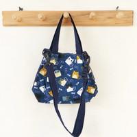 Slingbag Handbag Kanvas Mini / Tas Selempang Mini Motif Animal - Cats Biru