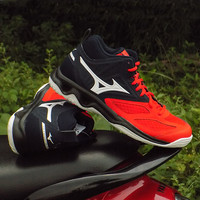 Sepatu Volly Mizuno Dynablitz Mid Fiery Red White Salute