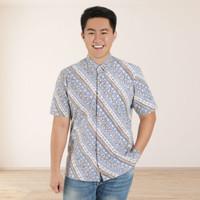 Batik Kultur Shirt - MSS - Classic Udan Liris in Light Blue White Brow